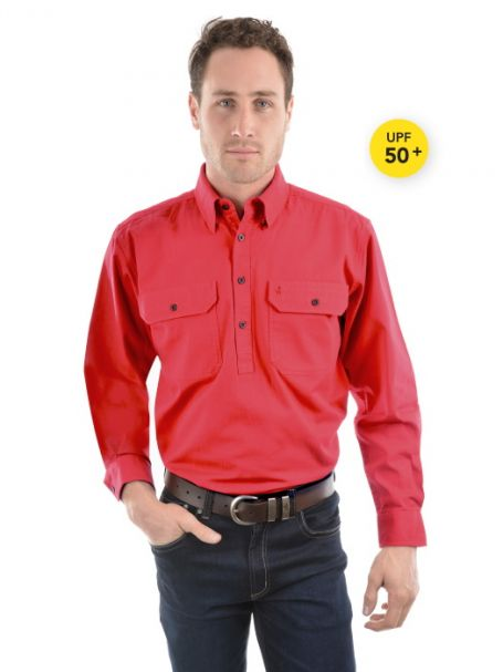 Men's Thomas Cook Heavy Cotton Drill Half Placket Long Sleeve Shirt TOMATO