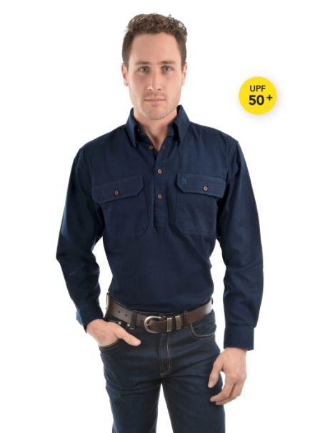 Men's Thomas Cook Heavy Cotton Drill Half Placket Long Sleeve Shirt NAVY