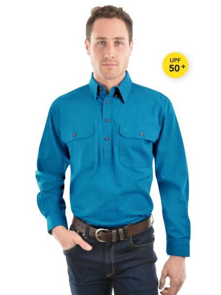 Men's Thomas Cook Heavy Cotton Drill Half Placket Long Sleeve Shirt AQUA