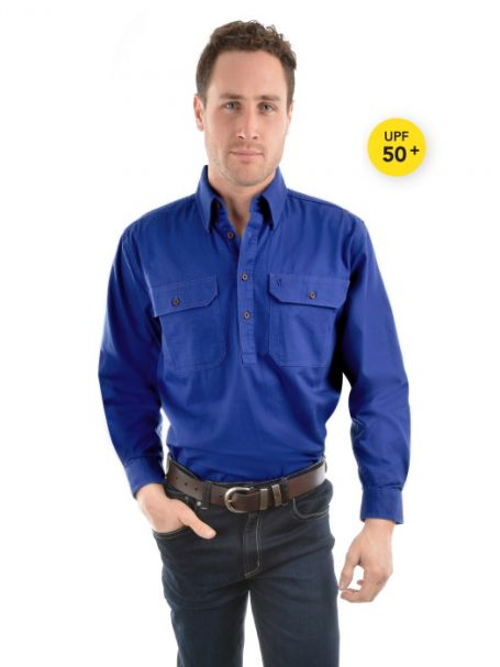 Men's Thomas Cook Heavy Cotton Drill Half Placket Long Sleeve Shirt COBALT