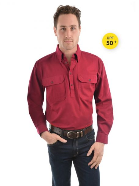 Men's Thomas Cook Heavy Cotton Drill Half Placket Long Sleeve Shirt RED