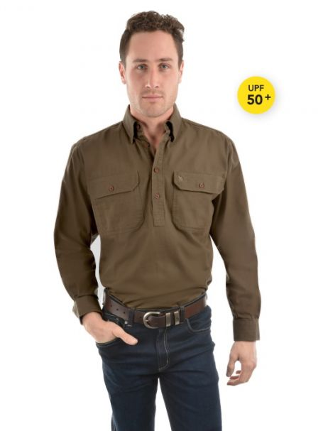 Men's Thomas Cook Heavy Cotton Drill Half Placket Long Sleeve Shirt MUSHROOM