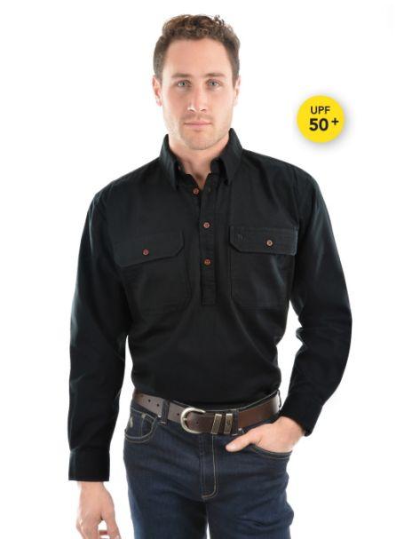 Men's Thomas Cook Heavy Cotton Drill Half Placket Long Sleeve Shirt BLACK