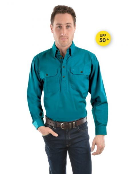 Men's Thomas Cook Heavy Cotton Drill Half Placket Long Sleeve Shirt TEAL