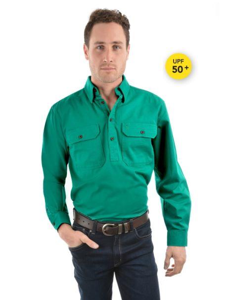 Men's Thomas Cook Heavy Cotton Drill Half Placket Long Sleeve Shirt BRIGHT GREEN