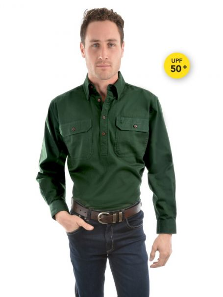Men's Thomas Cook Heavy Cotton Drill Half Placket Long Sleeve Shirt IVY GREEN