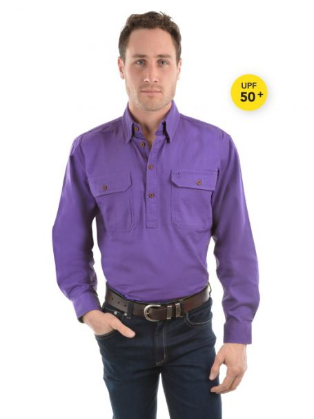 Men's Thomas Cook Heavy Cotton Drill Half Placket Long Sleeve Shirt PURLPE