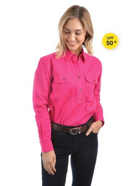 Ladies' Thomas Cook Heavy Cotton Drill Half Placket Long Sleeve Shirt HOT PINK