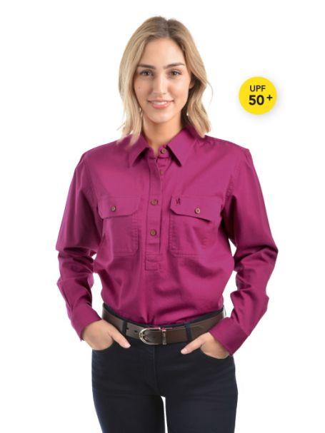 Ladies' Thomas Cook Heavy Cotton Drill Half Placket Long Sleeve Shirt BERRY
