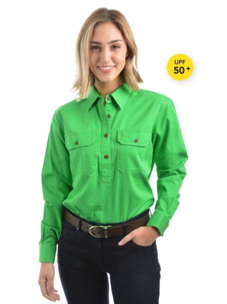 Ladies' Thomas Cook Heavy Cotton Drill Half Placket Long Sleeve Shirt LIME
