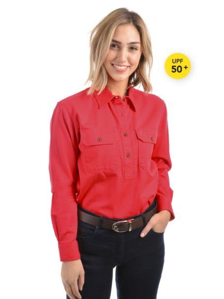 Ladies' Thomas Cook Heavy Cotton Drill Half Placket Long Sleeve Shirt HIBISCUS