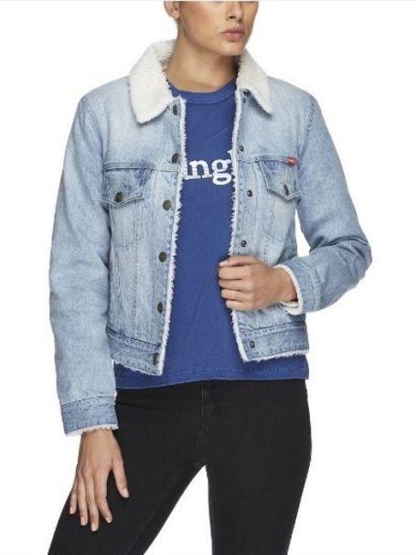 W/951127/481 Wrangler Denim Sherpa Ladies' Jacket BLUE STONE