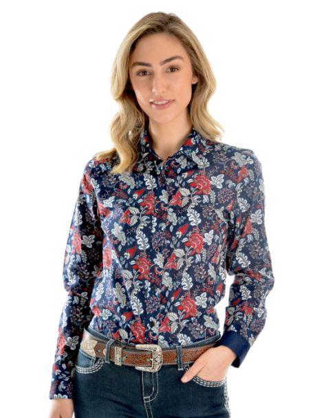 Ladies' Wrangler Macy Print Long Sleeve Button Up Shirt