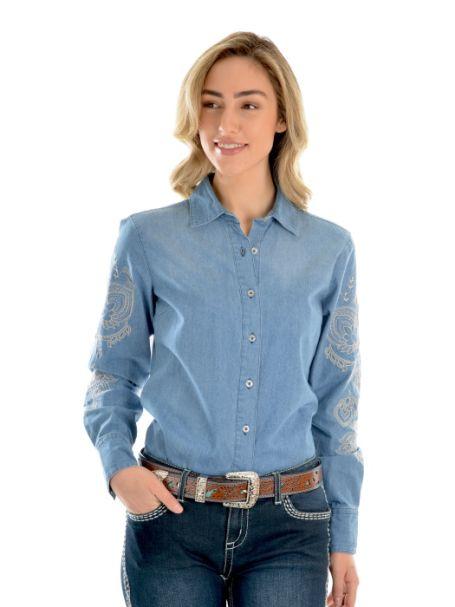 Ladies' Wrangler Vera Denim Long Sleeve Button Up Shirt