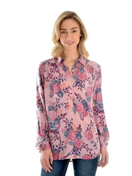 Ladies' Wrangler Sharnee Tab Front Long Sleeve Shirt