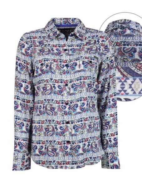 Ladies' Wrangler Long Sleeve Button Up Collar Shirt Amby Print