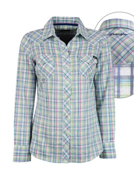 Ladies' Wrangler Long Sleeve Button Up Collar Shirt CLARENCE CHECK