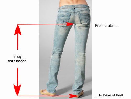 Just where is my inleg? Your inleg is measured from crothc to base of heel